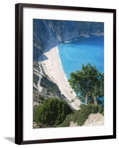 Kefalonia, View South from Cliff Tops Over White-Pebbled Beach at Myrtos-Ian West-Framed Art Print