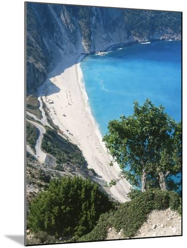 Kefalonia, View South from Cliff Tops Over White-Pebbled Beach at Myrtos-Ian West-Mounted Photographic Print