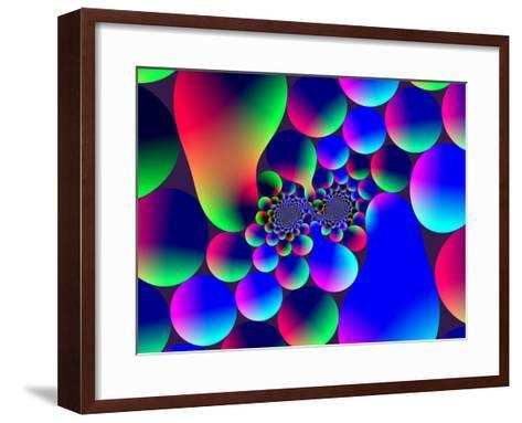 Multi-Coloured Abstract Fractal Pattern with Circular Shapes and Blobs-Albert Klein-Framed Art Print