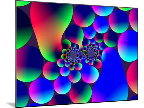 Multi-Coloured Abstract Fractal Pattern with Circular Shapes and Blobs-Albert Klein-Mounted Photographic Print