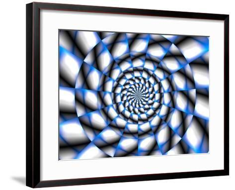 Abstract Blue and White Spiral Design-Albert Klein-Framed Art Print