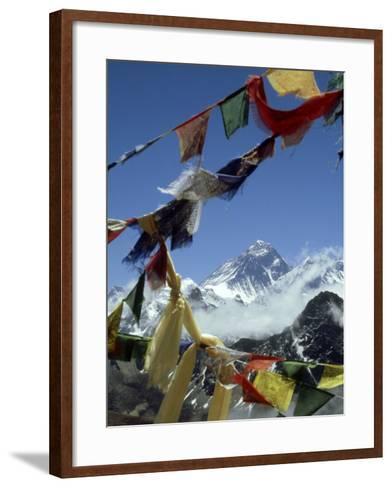 Mount Everest and Prayer Flags, Nepal-Paul Franklin-Framed Art Print