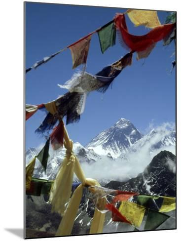Mount Everest and Prayer Flags, Nepal-Paul Franklin-Mounted Photographic Print