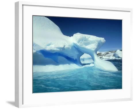 Blue Ice Stripe in Iceberg, Antarctic Peninsula-Rick Price-Framed Art Print