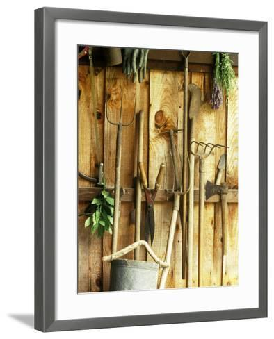 Garden Tools Hanging In Shed Fork, Shears, Rake, Lopper, Axe, Saw