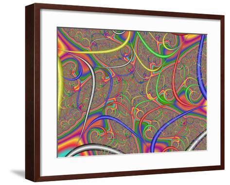 Abstract Fractal Design with Multi-Coloured Patterns and Shapes-Albert Klein-Framed Art Print