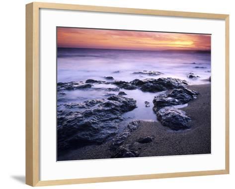 Sunset at Mullion in Cornwall, UK-David Clapp-Framed Art Print