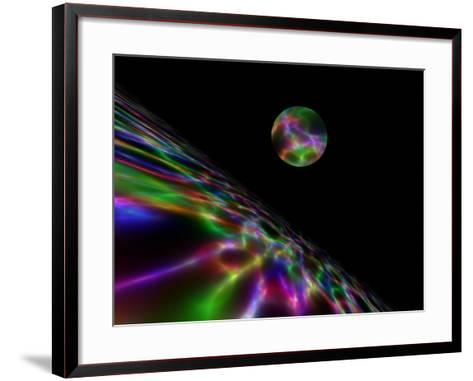Abstract Bubble Over Multi-Colured Liquid Against Black Background-Albert Klein-Framed Art Print
