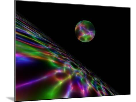 Abstract Bubble Over Multi-Colured Liquid Against Black Background-Albert Klein-Mounted Photographic Print
