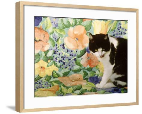 Black and White Cat Sitting on a Floral Chair-Lynne Brotchie-Framed Art Print