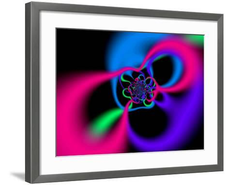 Abstract Pink, Blue and Green Patterns on Black Background-Albert Klein-Framed Art Print