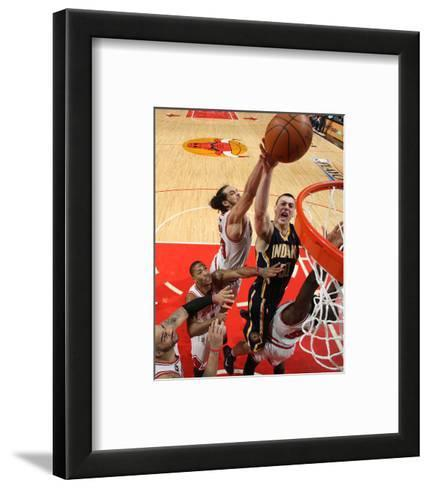 Indiana Pacers v Chicago Bulls - Game Two, Chicago, IL- April 18: Tyler Hansbrough and Joakim Noah--Framed Art Print
