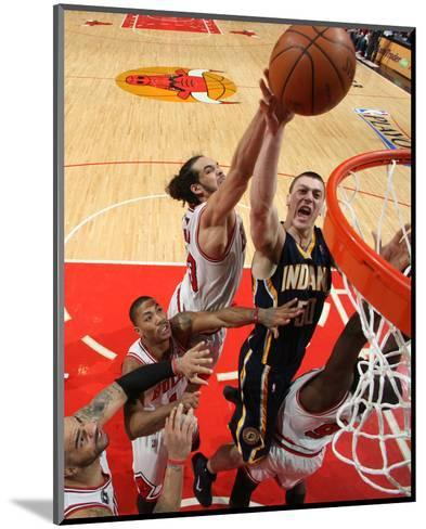 Indiana Pacers v Chicago Bulls - Game Two, Chicago, IL- April 18: Tyler Hansbrough and Joakim Noah--Mounted Photo