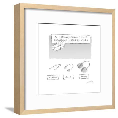 Post Primary Hearing Protectors - Cartoon-Kim Warp-Framed Art Print