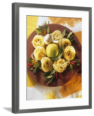 Raw Noodle Nests with Lime Chilis and Bay Leaves--Framed Art Print