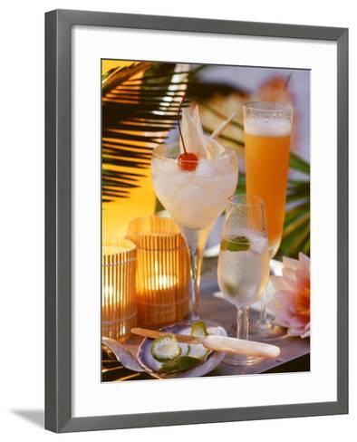 Caribbean Drinks with Rum: Ti Punch, Ti Doudou & Rum Sour--Framed Art Print