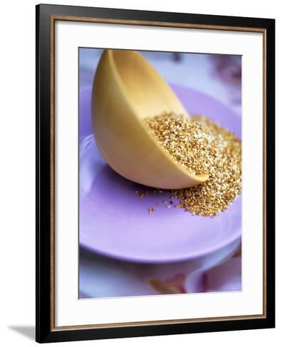 Wooden Bowl with Sesame Seeds-Akiko Ida-Framed Art Print