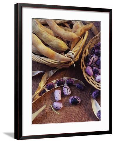 Purple Beans and Pods in Small Baskets-Vladimir Shulevsky-Framed Art Print