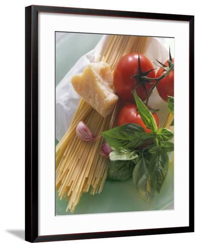Still Life with Spaghetti, Tomatoes, Basil & Parmesan--Framed Art Print