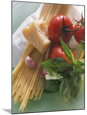 Still Life with Spaghetti, Tomatoes, Basil & Parmesan--Mounted Photographic Print