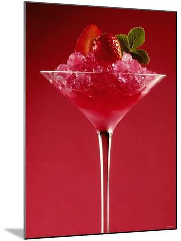 Strawberry Sorbet in a Stem Glass-Bodo A^ Schieren-Mounted Photographic Print