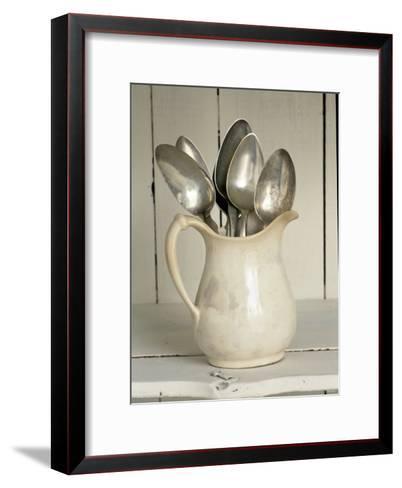 Old Silver Spoon in Light Coloured Ceramic Jug-Ellen Silverman-Framed Art Print