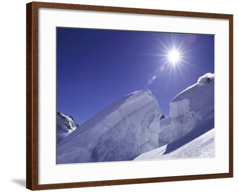 Low Angle View of a Man Skiing--Framed Art Print