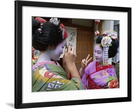 Apprentice Geisha (Maiko), Women Dressed in Traditional Costume, Kimono, Kyoto, Honshu, Japan--Framed Art Print