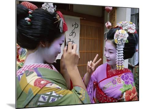 Apprentice Geisha (Maiko), Women Dressed in Traditional Costume, Kimono, Kyoto, Honshu, Japan--Mounted Photographic Print