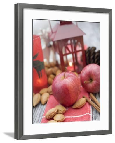 Christmas Decoration with Apples, Nuts, Cinnamon & Lantern--Framed Art Print