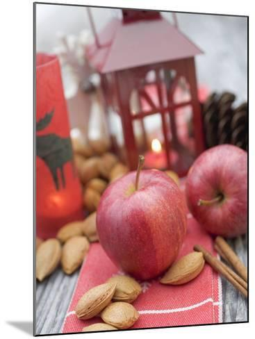 Christmas Decoration with Apples, Nuts, Cinnamon & Lantern--Mounted Photographic Print