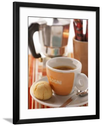 Cup of Espresso in Front of Espresso Machine--Framed Art Print