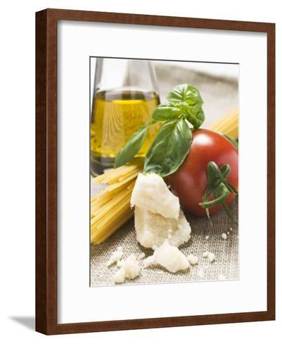 Tomato with Spaghetti, Parmesan, Basil and Olive Oil--Framed Art Print