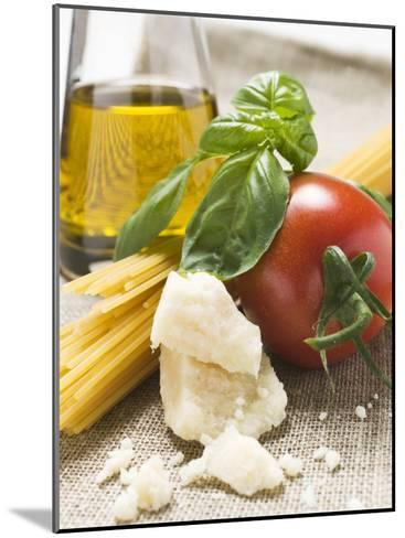 Tomato with Spaghetti, Parmesan, Basil and Olive Oil--Mounted Photographic Print