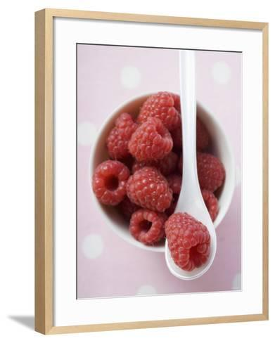 Raspberries in Small Bowl with Spoon--Framed Art Print