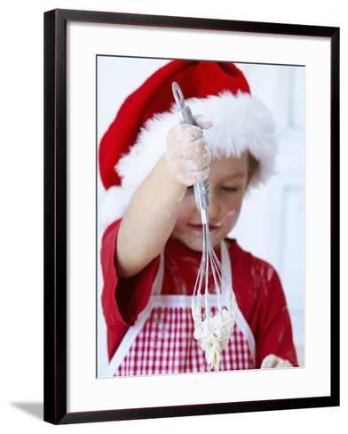 Girl Mixing Dough with a Whisk-Alena Hrbkova-Framed Art Print