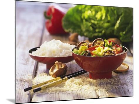 Curried Shiitake and Chinese Cabbage with Rice in Bowls-Peter Rees-Mounted Photographic Print