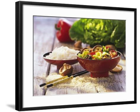 Curried Shiitake and Chinese Cabbage with Rice in Bowls-Peter Rees-Framed Art Print