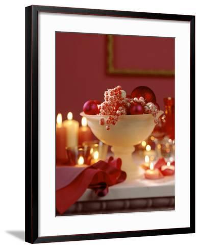 Glass Bowl of Berries & Xmas Baubles as Table Decoration-Luzia Ellert-Framed Art Print