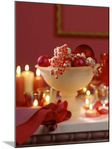 Glass Bowl of Berries & Xmas Baubles as Table Decoration-Luzia Ellert-Mounted Photographic Print