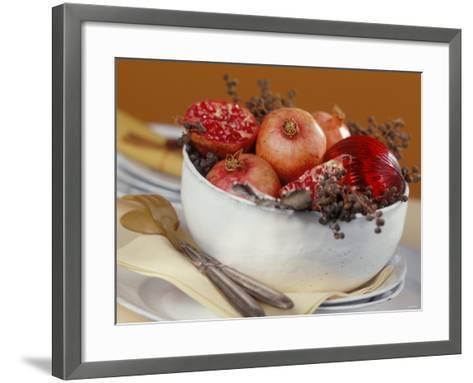Bowl of Pomegranates & Xmas Tree Baubles as Table Decoration-Luzia Ellert-Framed Art Print