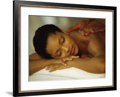 Young Woman Getting Her Back Massaged--Framed Art Print
