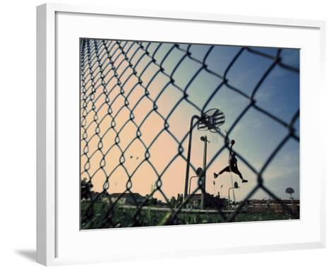 Mid Adult Man Playing Basketball--Framed Art Print