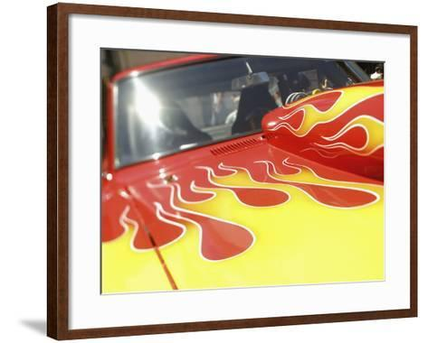 Close-up Image of a Flame Design on a Car Hood--Framed Art Print