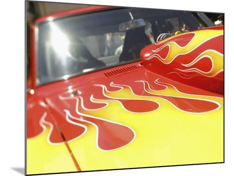 Close-up Image of a Flame Design on a Car Hood--Mounted Photographic Print