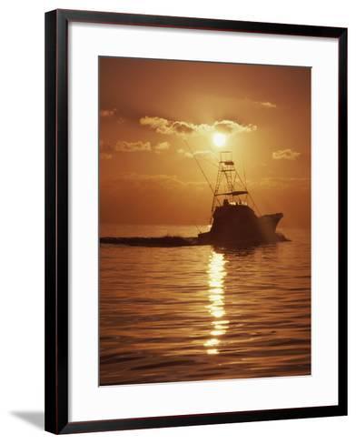 Fishing Boat with Sunset Sky--Framed Art Print