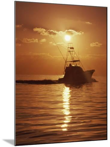 Fishing Boat with Sunset Sky--Mounted Photographic Print