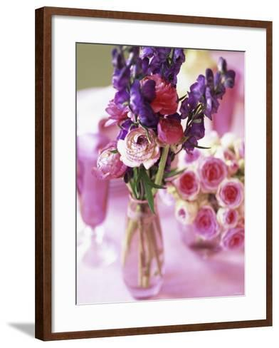 Romantic Floral Decoration and Champagne Glasses-Michael Paul-Framed Art Print