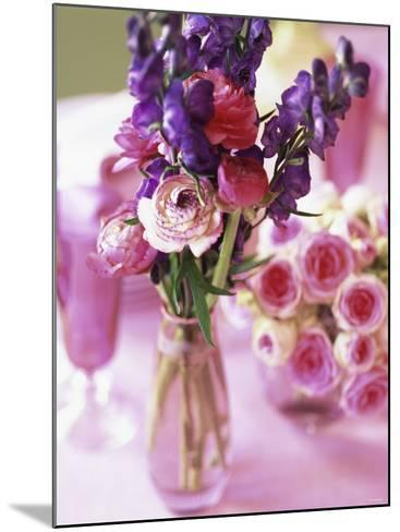 Romantic Floral Decoration and Champagne Glasses-Michael Paul-Mounted Photographic Print