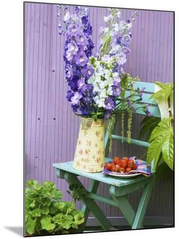 Garden Chair with Delphiniums and Plate of Strawberries-Linda Burgess-Mounted Photographic Print